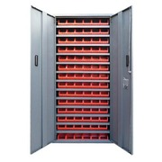 Cupboard with swinging doors in plastic 84 boxes red