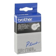 Laminated ribbon 12 mm, white black writing for Brother labelling machine