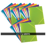 Pack 15 sleeves with elastic and 3 folds Memphis Elba 24 x 32 cm back 1,5 cm assorted colours + 5 free