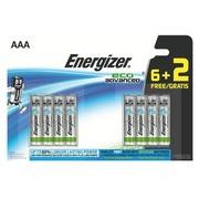 Verpakking met 6 + 2 batterijen Energizer Eco Advanced LR03