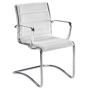 Visitor chair Milano leather white - Back H 40 cm
