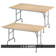 Pack buy 1 folding table Primera beech/alu = get 1 identical table for free