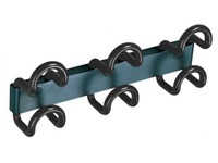 Saga wall hanger 3 coloured double hooks black